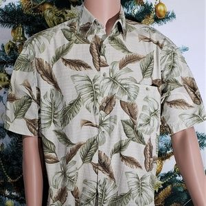 PIERRE CARDIN TROPICAL HAWIIAN BUTTON DOWN SHIRT
